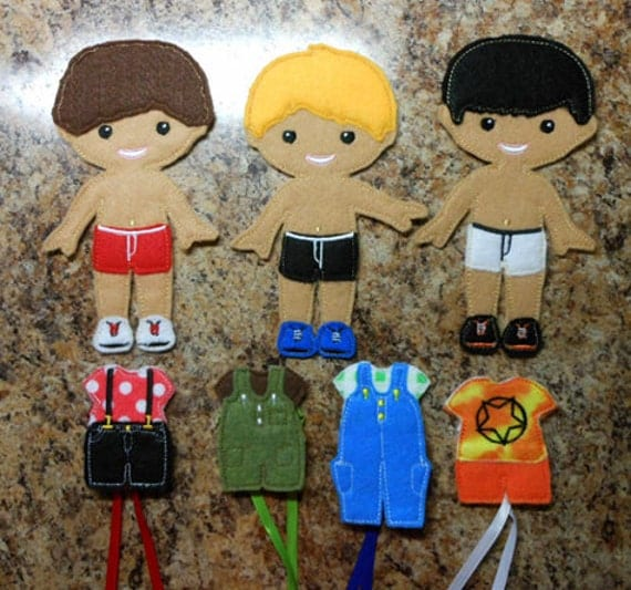 In the hoop felt dress up boy bff doll embroidery machien for Felt dress up doll template