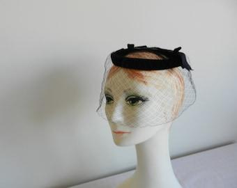 Black Velvet Circle Whimsy Hat by Walter Magnus