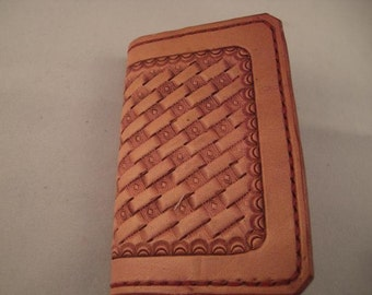 Leather Wallet or Business Card Holder, Handtooled Basketweave Pink color