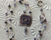 Vintage Watch Face Necklace w/ Glass Crystals, Silver, Purple