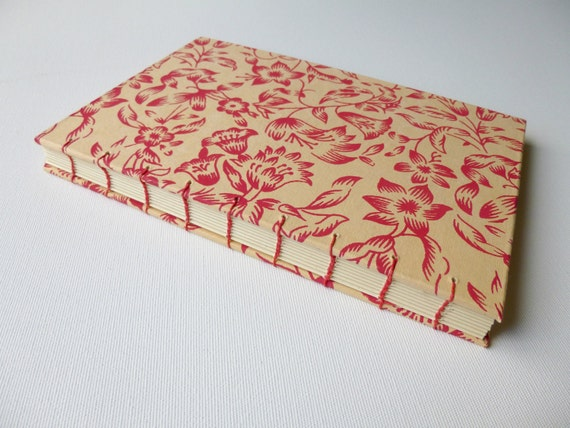 Coptic-Bound Spice Red Floral Journal