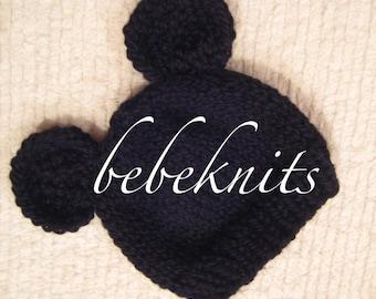 Hand Knit Little Black Mouse Newborn Hat