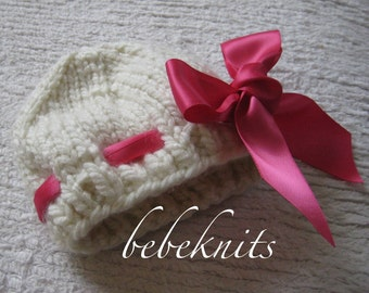 Hand Knit Baby Hat in Ivory with Eyelet and Satin Bow