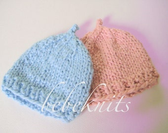 Hand Knit Organic Cotton Preemie Twin Baby Hats