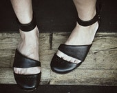 HEIDI -Black  - FREE SHIPPING Handmade Leather Shoes with Summer Sale Price