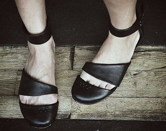 HEIDI -Black  - FREE SHIPPING Handmade Leather Shoes