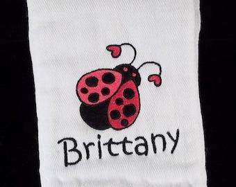 Hot Pink Ladybug Burp Cloth