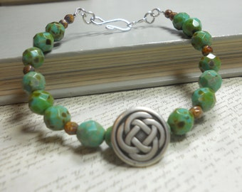 Beaded Bracelet with Celtic Knot Charm, Czech Glass Beads, One Strand