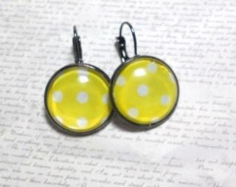 Yellow Polka Dot Earrings, Gunmetal Lever Back Earrings, Image Jewelry, Glass Cabochon Earrings