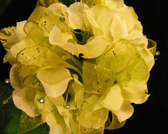 Chartreuse Hydrangea Blossom with Rhinestone Wrist Corsage, Shimmering Light Green Hydrangea Corsage