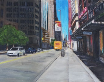 Pittsburgh OIl Painting Downtown Streetscape Original 20 x 30 Inches
