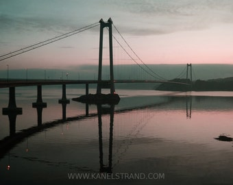 Nautical art, Norway nature photography, bridge over the fjord at dusk, violet blue sky, sea photo, 10x8