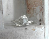 Bright rose-Unconventional-Mounted-snow white- raw rough diamond - solitaire-promise- engagement ring