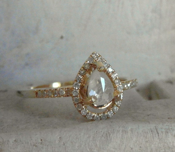 teardrop shaped 14k solid yellow gold mounted raw rough diamond solitaire promise - Teardrop Wedding Rings