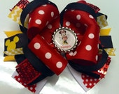 Red, Black and Yellow Mix Large Custom Disney Hair Bow with Mickey Mouse Ribbon, Sequin Ribbon and Personalized Mickey Mouse Bottle Cap