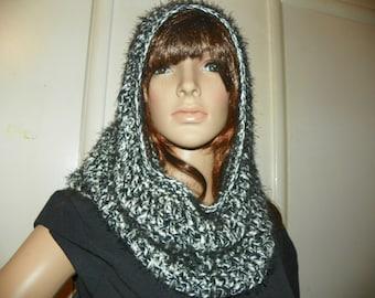 Zebra Black and White Infinity  Cowl Neck Warmer Hood Hand Crochet  Very Stunning and Soft