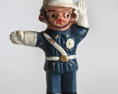 Vintage Policeman Traffic Control Miniature Red Clay Stoneware Figurine Hand Painted clay Figure