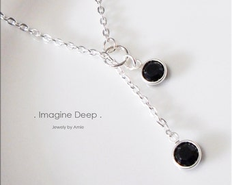 50% off SPECIAL - Black Lariat Necklace - Silver Plated Black Onyx/Obsidian-Like Swarovski Crystal