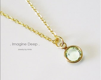 50% off SPECIAL - Seafoam Soft Pale Green Pendant Necklace - 17 inch Gold Plated Light Sea Foam Green Swarovski Crystal