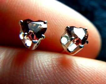 Little garnet hearts in sterling silver earring stud posts (the birthstone for January)