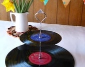 Music Themed Wedding Party Cakestand 2 Tier Record Cake Stand Vintage Vinyl Record Retro Party Server
