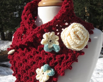 Crochet Scarflette Cowl with Roses  - Crochet Scarf