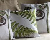 Home Decor Botanical Fern Watercolor Art Pillow Cover Etched into Nature No.1 Available in 2 Sizes