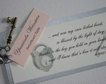 Vintage Key Theme Bookmark Place or Escort Card Favors - Wedding Quince Bat Mitzvah - Lock and Key or Secret Garden Theme