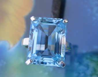 Octagon Emerald Cut Sky Blue Topaz Ring - 10mm x 12mm Sterling Silver Rectangle Ring - Big Gemstone Ring - Ready to Ship Size 7