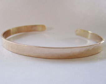 Recycled 14kt rose gold hand forged cuff bracelet