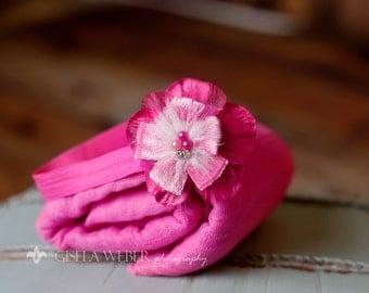 Newborn Cheesecloth, PINK Baby Wrap Set, Pink Cheesecloth, Pink Baby Wrap, Baby Headband, Newborn Photo Prop, Newborn Headband