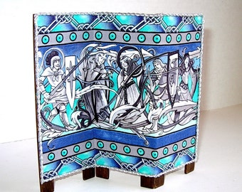 Medieval Folding Screen, Dollhouse Miniature 1/12 Scale, Hand Made in the USA