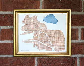 Butte Montana 8x10 watercolor hand painted map in Copper and Indigo