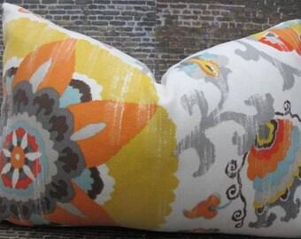 SALE Designer Lumbar Pillow Cover - Silsila Suzani - Outdoor