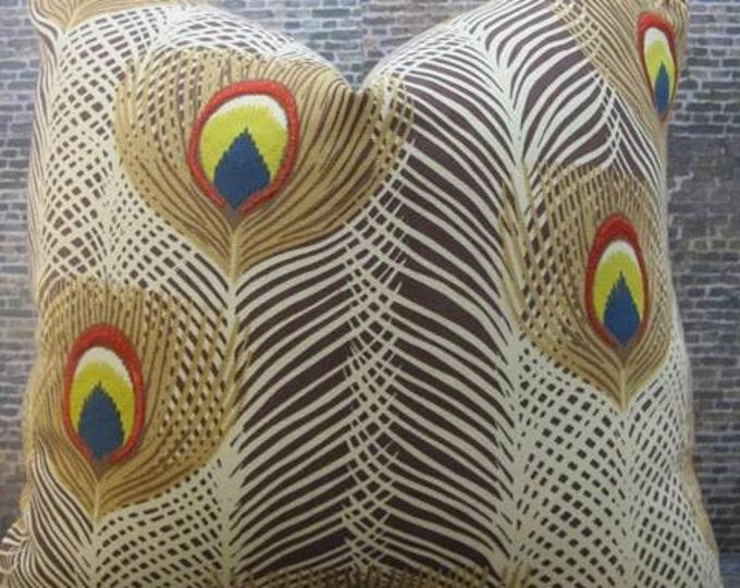 SALE Designer Pillow Cover - Lumbar, 16 x 16, 18 x 18, 20 x20 - Iman Punjab Peacock Porcini