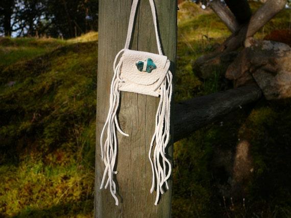 White Deerskin Medicine Bag with Turquoise Rabbit Totem Bead and Fringe, Medicine Pouch, Amulet Bag