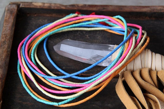 Chase the Rainbow / Semi-Wholesale: African Vinyl (Vulcanite) Phono Record Disc Beads / 5 strands, 3x.5mm / Craft, Jewelry-Making Supplies