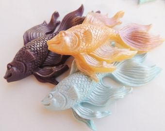 BETTA FISH SOAP, Set of 3, Betta Fish in Gold, Amethyst, and Teal, Scented in Blackberry Tea, Vegetable Based, Handmade