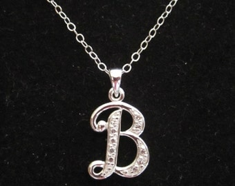 "925 sterling silver CZ Letter Initial ""B"" pendant charm with necklace chain, personalized monogram necklace"