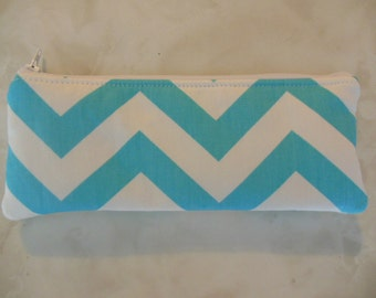 Chevron long zipper Pencil Case-Blue and white