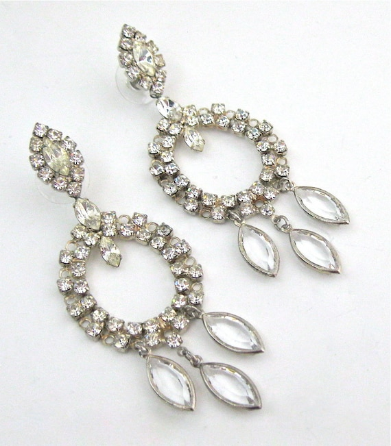 vintage chandelier earrings costume jewelry clear rhinestones