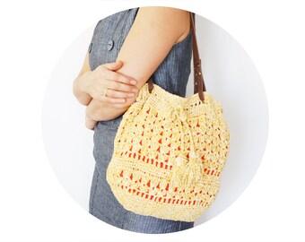 BAG // Sand beige yellow velvet shoulder bag g with Genuine Leather Handles
