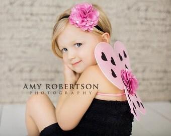 SWEETHEART Glitter Heart Wings and Headband SET - Size Newborn through Toddler