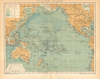 1897 Antique Dated Map of the Pacific Ocean with Australia, Micronesia, Polynesia
