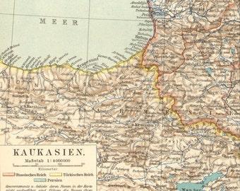 1905 Original Antique Map of the Caucasus or Caucas