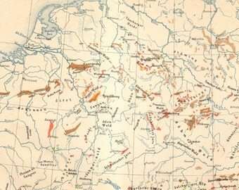 1890 Original Antique Mineral Map of Germany