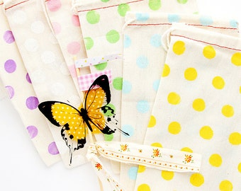 10 Hand Stamped Cotton Bags  - SPRING Colors