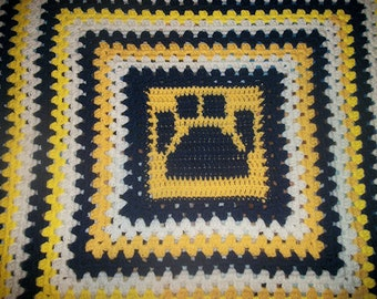 READY to SHIP--Pawprint Blanket--Crocheted Granny Square Blanket--Navy, Yellow, & White--Couch Throw, Lap Blanket, Baby Blanket