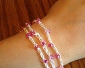 Beaded Crochet Wrap Bracelet - White cotton and Pink Beads