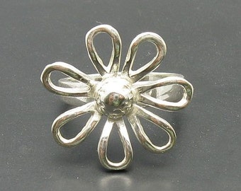 R000690 Sterling Silver Ring Solid 925 Flower